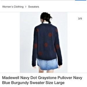 NWT Madewell Navy Dot Pullover Sweater size L